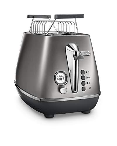 De\'Longhi Distinta Flair Toaster CTI2103.S   2 Schlitz Toaster   Brötchenaufsatz   Herausnehmbare Krümelschublade   Finesse Silver