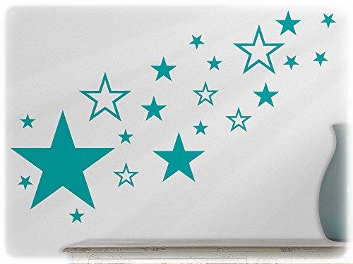 Preisvergleich Produktbild wandfabrik - Wandtattoo - 82 praktische Sterne in türkis