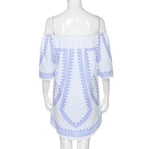 LILICAT Damen Sommer Kleid Schulterfrei Drucken Kleid A-Linie Knielang Strandkleid Frauen Casual Lose Blumenmuster Sommerkleid Weiß