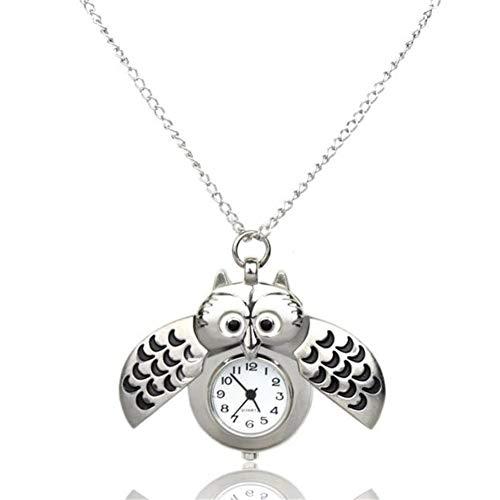 FDIJM Taschenuhr Damenmode Mini Metal Owl Double Open Uhr Anhänger Hängend , Bk - Bk Mini-anhänger