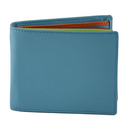 Portafoglio Per Uomo In Vera Pelle, Interno Multicolor Colore Turchese - Pelletteria Toscana Made In Italy - Accessori