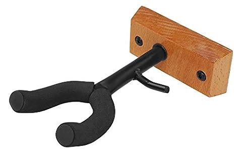Classic Cantabile Violinen Wandhalter Holz (mit Bogenhalter, Moosgummipolsterung der Gabel, einfach mit zwei Schrauben zu (Einfache Bogen)