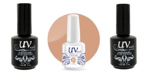 UV-Nails Vernis a Ongles Soak-Off Gel 15ml Hands in the Sand #208 + Base & Top Coat 15ml + Aviva Polissoir a ongles