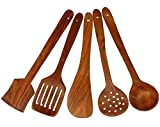 #9: Home Creations Multipurpose Serving And Cooking Spoon Set For Non Stick Spoon For Cooking Baking Kitchen Tools Essentials Wooden Non Stick Spatulas & Ladles Wooden Spoon Set Of 5 | 1 Frying, 1 Serving, 1 Spatula, 1 Chapati Spoon, 1 Desert For Kitchen & Dining Table