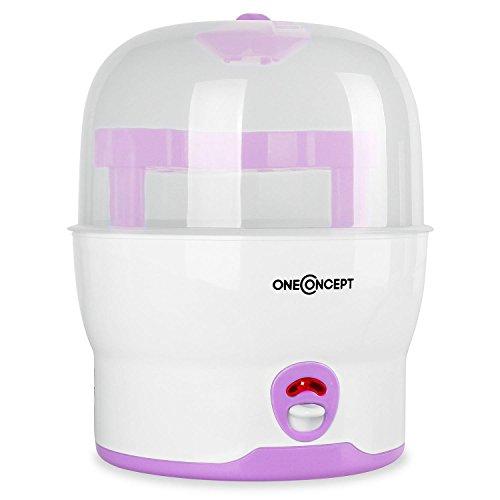 oneConcept Mom&Me Prince Sterilisator Wasserdampf-Vaporisator Auskocher für Babyflaschen (Desinfektionsgerät für 6 Flaschen, ohne Chemikalien, 500 Watt) pink
