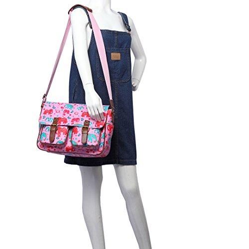 scuola L1107E Borsa di Borsa Rosa L1107CT incrociate messenger de di donna fiore di Lulu uccello di Borse cartella Beige Miss qIwSUZg