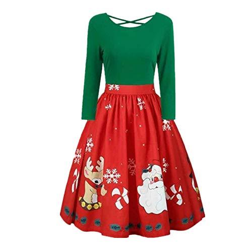 SEWORLD Weihnachten Vintage Christmas Frauen Damenmode Langarm Große Größe Weihnachten Drucken Criss Cross Party Kleid(X9-grün,EU-34/CN-M)