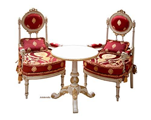 Elegante Sitzgruppe für Wohnzimmer oder Esszimmer: 2 Stühle und 1 Tisch. Erstklassige Möbel lackiert mit Blattgold, Essgruppe Made in Italy
