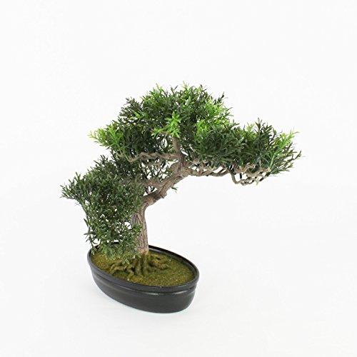 artplants Künstlicher Teeblatt Bonsai in Schale, 220 Zweige, 45 cm – Kunstbonsai/Dekobaum