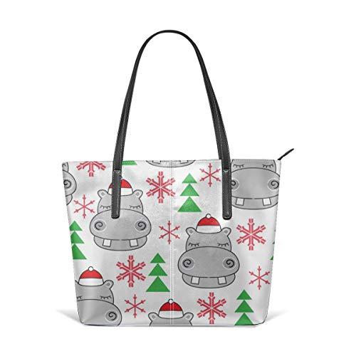 hulili Frauen weiches Leder Tote Umhängetasche Urlaub Hippos-with-Santa-Hüte Mode Handtaschen Satchel Geldbörse (Santa Big Hut)