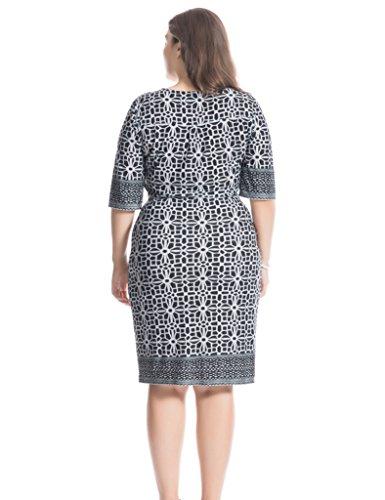 Chicwe Damen Kleid Große Größen Zip Rundhals und Selbst Gürtel Border Druck EU46-60 Schwarz&Grau