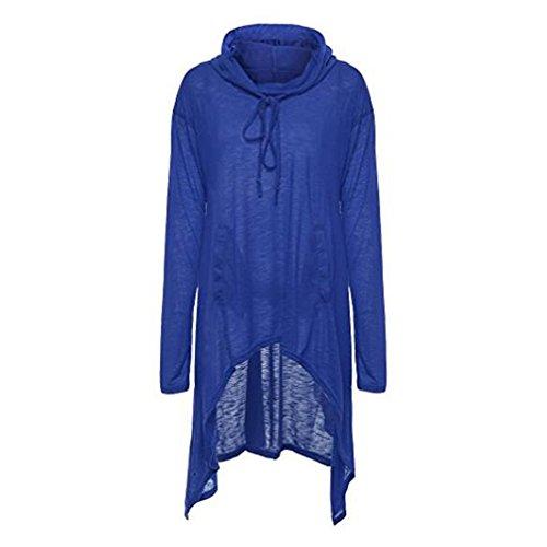 Dames Sweat a Capuche Irrégulières Longue Robe Asymmetric Pull Hoodies Sweatshirt Automne Casual Oversize Tunique Pullover Blouson Noir Olive Gris Bleu Vin Rouge Gris Foncé M-4XL Highdas Bleu