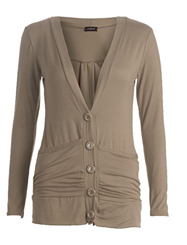 Flirty Wardrobe Cardigan boutonné avec poches avant Femme Marron - Moka