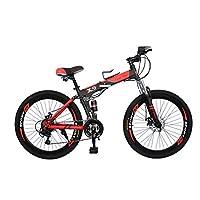 Vlra bike Foldable bike Sports and fitness mountain bike 26 inch (black/red, 26)