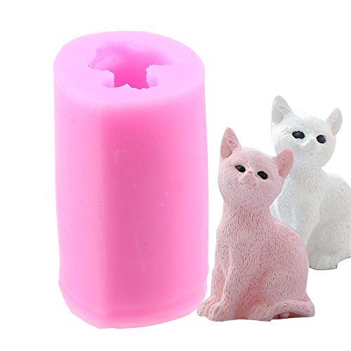 WCIC 3D Katze Formen, DIY Silikonform für Backen, Schokolade, Fondant, Kerzen, Wachs, handgefertigte Seife, Putz Statue