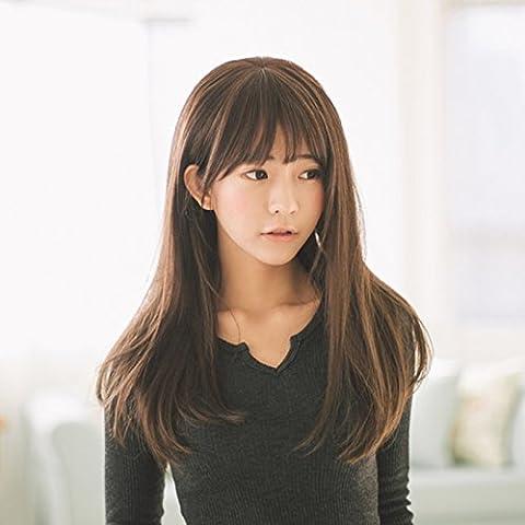 XNWP-Cuero cabelludo peluca de pelo largo hembra recto largo largo cabello rizado cabello Liu Qi, Real cabello natural,marrón
