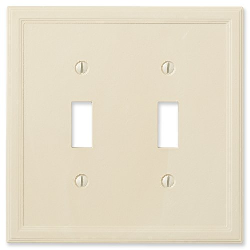 Double Switch Wall Plate (questech Elfenbeinfarben isoliert-/Switch Plate/Auslass, Double Toggle)