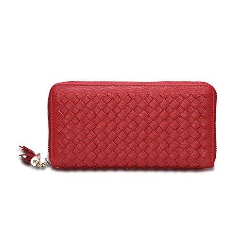Moda europea PU leather/Borsa della lunga scatola signora (colori assortiti)-Rosso Rosso