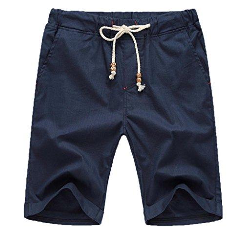 GreatestPAK Pants Leinen Baumwolle Shorts Männer Herren Sommer Solid Beach Casual Elastische Taille Klassische Passform Hosen Kurze Hosen,XX-Large,Marine