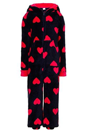 Girls Nightwear New Heart Print All In One Sleepsuit