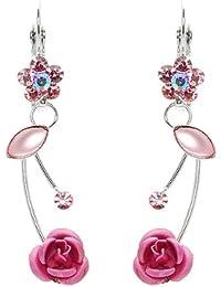 Glamorousky Elegante Rosa Rose Ohrringe Mit Rosa Austrian Elements -Kristallen Und Kristallglas (760)