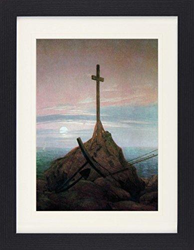 1art1 113395 Caspar David Friedrich - Kreuz an der Ostsee, 1815, Detail Gerahmtes Poster Für Fans und Sammler 40 x 30 cm