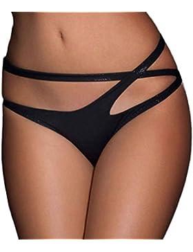 zarupeng Mujer vendaje abierta Crotch Crotchless Bragas tanga V-string Lingerie Underwear