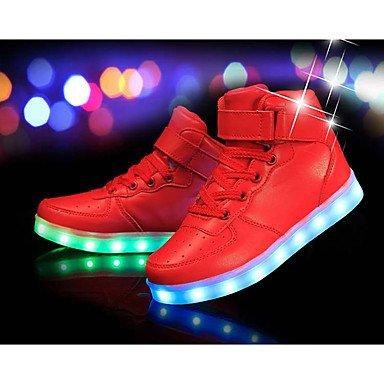 Aemember calzature invernale da ragazza comfort Light Up scarpe PU Athletic Flat Heelled nero rosso bianco argento oro US11 / EU28 / UK10 Little Kids