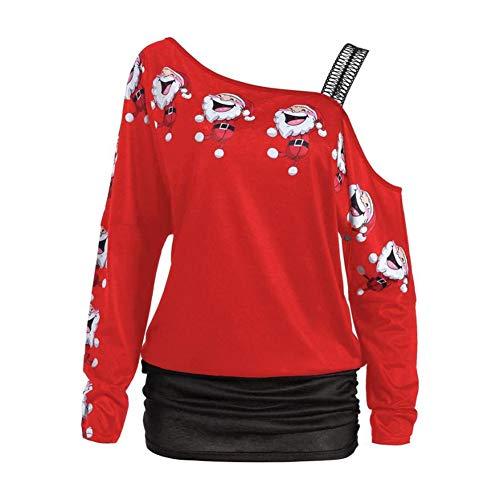 TIFIY Damen Weihnachtsmann Sweatshirt Off Schulter Lange Bluse Santa Pullover Snowflake Print Langarm Tops Shirt ()
