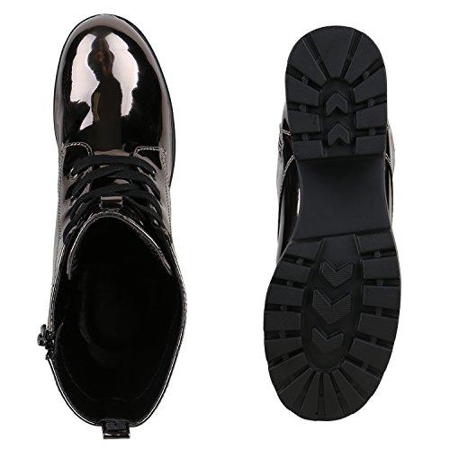 Damen Stiefeletten Lack Metallic Boots Schnürstiefeletten Schuhe Metall