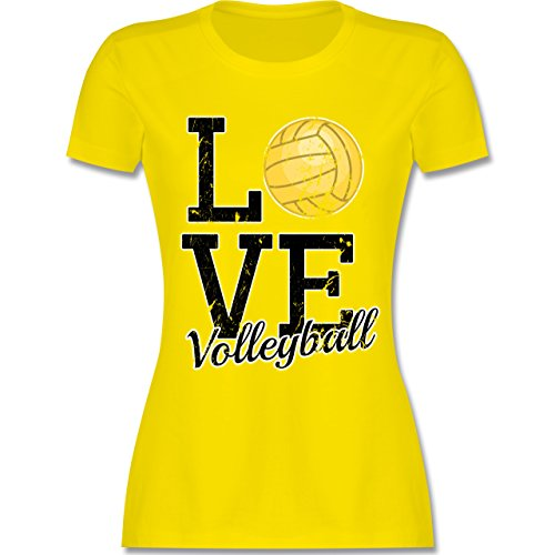 Shirtracer Volleyball - Love Volleyball - Damen T-Shirt Rundhals Lemon Gelb