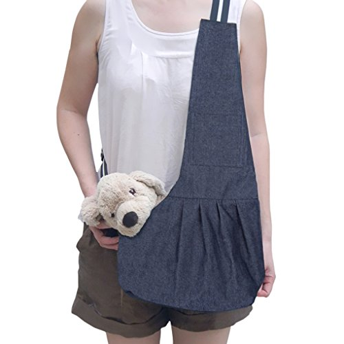 FakeFace Hundetasche Hundetragebeutel Tragbar Umhängetasche aus Oxford Tuch Outdoor für Hunde und Katze(Blau L)
