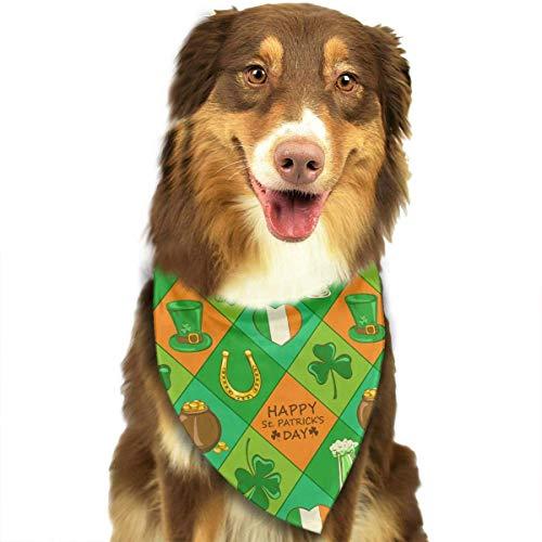 Wfispiy St. Patrick's Day Irish Shamrock Muster weicher Baumwolle Klassische Tiere Bandana Haustier Hund Katze Dreieck Lätzchen (Gogo Hund Spielzeug)