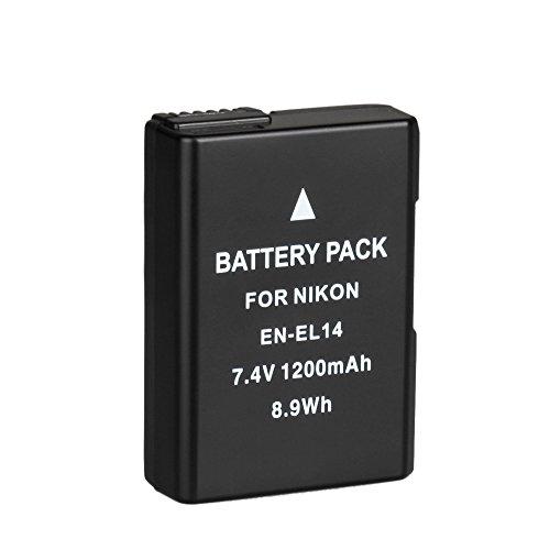 BPS EN-EL14 EN-EL14a Batería Recargable para Nikon D3100 D3200 D3300 D5100 D5200 D5300 D5500 D3S, Coolpix P7000 P7100 P7700 P7800 DSLR Cámara, Nikon Empuñadura BG-2G, Nikon Cargador de Baterías MH-24