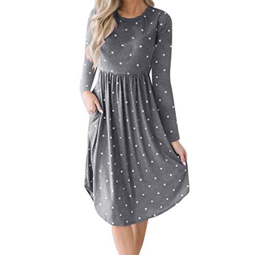 Bademode Womens Dress Casual Dot Printing Rundhals Kleid Langarm Abend Partykleid Bikinis (Color : Grau, Size : S)