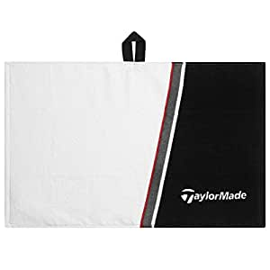 "2015 TaylorMade Cart Cotton Mens Golf Towel 15""x 24"" White/Black"