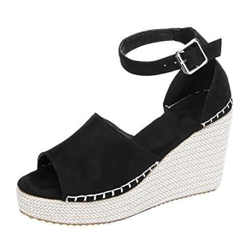 FNKDOR Damen Keilabsatz Sandalen Peep Toe Elegante Wedges Schuhe (38, Schwarz)