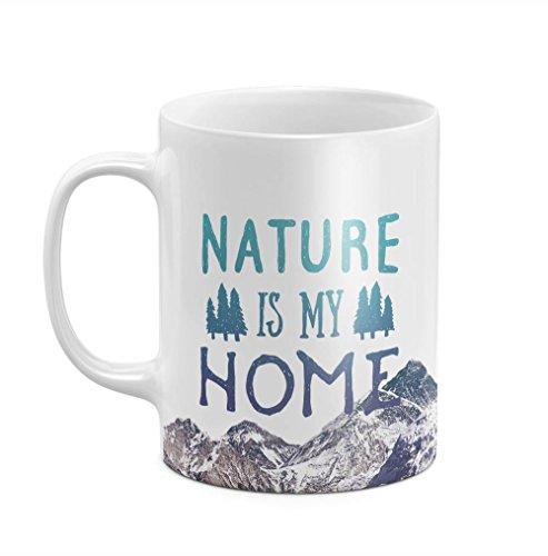 Nature Is My Home Adventure Wildlife Nature Mountain Landscape 11 ounce Ceramic Tea Coffee Mug Becher Tasse Krug (Land Pot Holder)