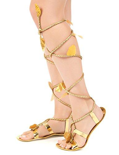 Estas sandalias romanas tienen suelas finas con dos cintas trenzadas.Hay hojas doradas que decoran las cintas doradas.Las sandalias son talla única y corresponde a la talla 40-42 aproximadamente.Completa tus disfraces de romanos con estas sandalias d...