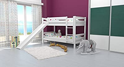 Bunk bed David, with slide, solid beech wood, white painted, incl. slatted frame - 90 x 200 cm - inexpensive UK light store.