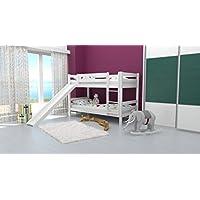 Etagenbett / Spielbett David Buche massiv weiß lackiert mit Rutsche, inkl. Rollrost - 90 x 200 cm, teilbar preisvergleich bei kinderzimmerdekopreise.eu