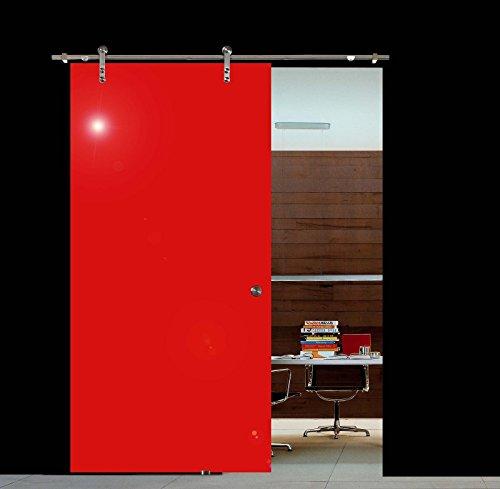 BV775RA: Glasschiebetür Glas Schiebe Tür VSG hochglanz rot 775x2050mm inkl. Soft_Stop Edelstahl Schiebetürbeschlag (Stop-schiebe-tür)