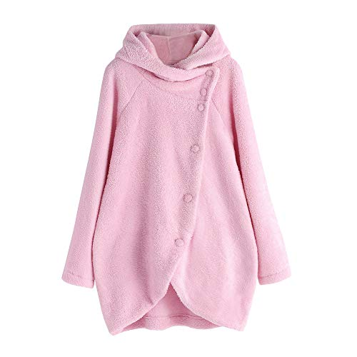 Damen Winter Plüschjacke MYMYG Warm Winterjacke Steppjacke Outwear Cardigan Langarm Teddy-Fleece Parka Kapuzenjacke Trench Coat(RosaEU:38/CN-L)
