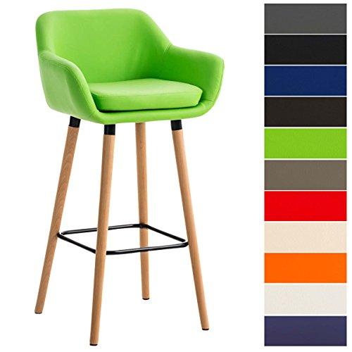Clp sgabello grant con fodera in similpelle, sedia alta da bar con telaio a 4 gambe, sgabello da bancone con schienale e poggiapiedi, sgabello alto da banco bar con braccioli verde