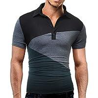 Beladla Camiseta Hombre Moda Patchwork Plaid Transpirable Sudor AbsorcióN Color De Hechizo Bolsillo Polos Personalidad Casual Remera Slim Camisas