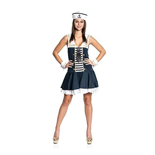 Kostümplanet® Matrosen-Kostüm Deluxe sexy Damen Kleid mit Manschetten Matrosin-Kostüm Größe 40