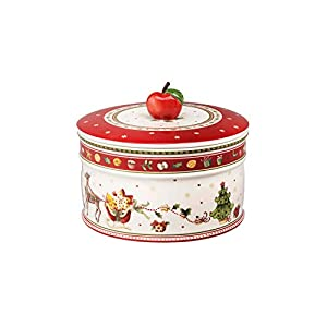 Villeroy & Boch Winter Bakery Delight Große Vorratsdose für Gebäck, Premium Porzellan, Weiß/Rot, Beige/Green/Red