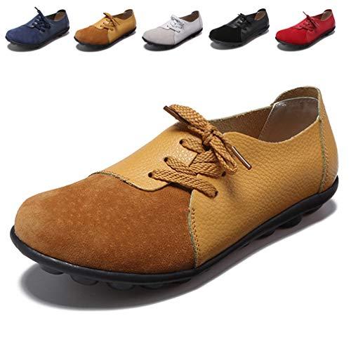 Hishoes Damen Mokassin Bootsschuhe Leder Loafers Fahren Flache Schuhe Halbschuhe Slippers Erbsenschuhe, 37 EU=Etikettengröße 37 Flache Slipper