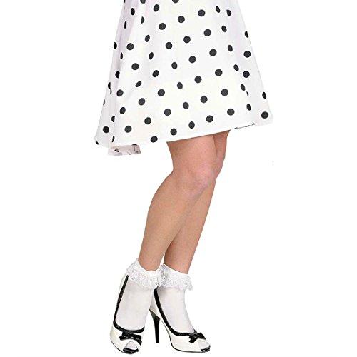 Weiße Rüschensocken Rüschen Socken weiß Rockabilly Rock n Roll Söckchen 50er 60er Jahre Kostüm (Jahre 50er Accessoires Kostüme)