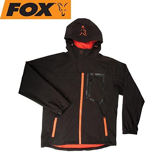 Fox Black / Orange Softshell Jacke Angeljacke, Anglerjacke, Softshelljacke, wasserdicht & atmungsaktiv, Größe:L